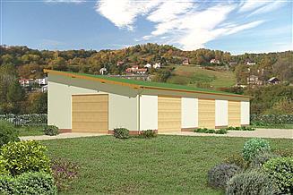 Projekt magazynu Murator GMC04c Budynek garażowo-magazynowy