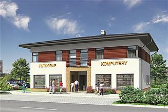 Projekt sklepu Murator U15b Budynek usługowy z częścią mieszkalną