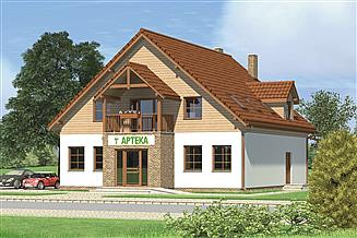 Projekt sklepu Murator UC27 Budynek usługowy z częścią mieszkalną
