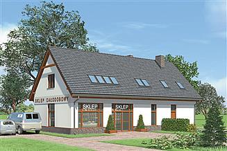 Projekt sklepu Murator U16 Budynek usługowy z częścią mieszkalną
