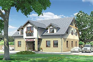 Projekt sklepu Murator UC34 Budynek usługowy z częścią mieszkalną
