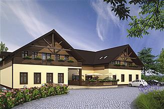 Projekt domu weselnego Murator UC39 Budynek usługowy z częścią mieszkalną i pokojami gościnnymi