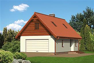 Projekt garażu Murator G11a Garaż z częścią mieszkalną i pomieszczeniem gospodarczym