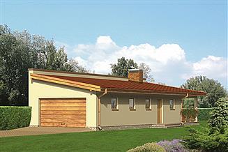 Projekt garażu Murator G24 Garaż z częścią mieszkalną i wiatą rekreacyjną