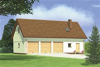 Projekt garażu Murator G37 Garaż z poddaszem i pomieszczeniem gospodarczym