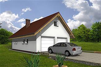 Projekt garażu Murator GC67 Garaż z poddaszem i pomieszczeniem gospodarczym