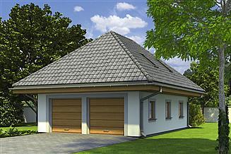 Projekt garażu Murator G51 Garaż z poddaszem i pomieszczeniem gospodarczym