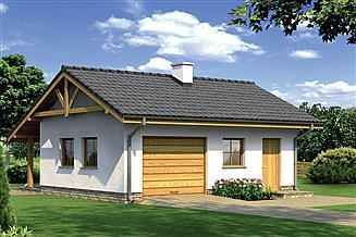 Projekt garażu Murator G25b Garaż z pomieszczeniem gospodarczym i kotłownią