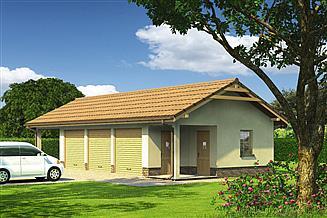 Projekt garażu Murator GC74 Garaż z pomieszczeniem gospodarczym i wiatą garażową