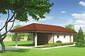 Projekt garażu Murator G42b Garaż z pomieszczeniem gospodarczym i wiatą garażową