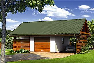 Projekt garażu Murator G57a Garaż z pomieszczeniem gospodarczym i wiatą garażową