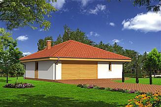 Projekt sauny Murator GC58a Garaż z pomieszczeniem gospodarczym, sauną i wiatą rekreacyjną