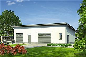 Projekt garażu Murator GC80 Garaż z pomieszczeniem gospodarczym