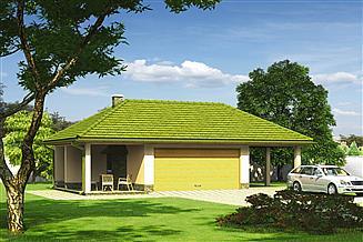 Projekt garażu Murator GC78 Garaż z wiatą garażową i wiatą rekreacyjną