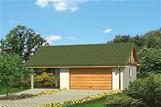 Projekt garażu Murator G20 Garaż z wiatą garażową