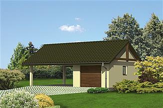 Projekt garażu Murator G21 Garaż z wiatą garażową