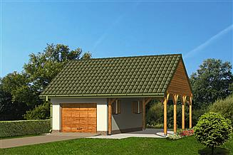 Projekt garażu Murator GC22 Garaż ze schowkiem i wiatą garażową