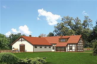 Projekt stajni Murator S10 Stajnia dla 17 koni z częścią mieszkalną i podd. gosp.