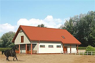 Projekt stajni Murator SC04 Stajnia dla 6 koni z cz. mieszkalną-rekreacyjną i podd. gosp.