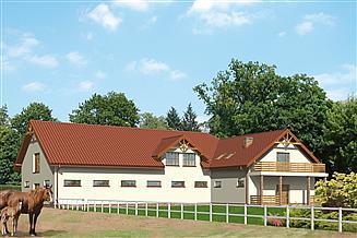 Projekt stajni Murator SC07 Stajnia dla 16 koni z częścią mieszkalną-rekreacyjną i poddaszem gospodarczym