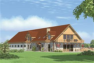 Projekt stajni Murator SC12 Stajnia dla 12 koni z częścią mieszkalną i poddaszem gospodarczym