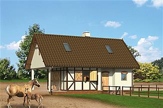 Projekt stajni Murator S08 Stajnia dla 2 koni z częścią mieszkalną