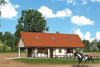 Projekt stajni Murator S09 Stajnia dla 4 koni, z częścią mieszkalną