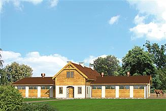 Projekt stajni Murator S01a Stajnia dla 16 koni z częścią mieszkalną