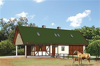 Projekt stajni Murator S09a Stajnia dla 2 koni, z częścią mieszkalną