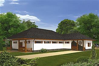 Projekt stajni Murator SC06 Stajnia dla 10 koni z częścią mieszkalną-rekreacyjną