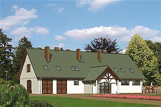 Projekt stajni Murator S16 Stajnia dla 10 koni z częścią mieszkalną