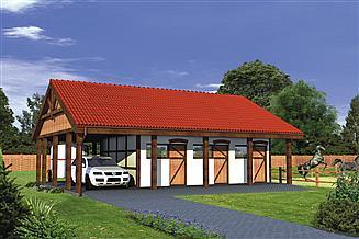 Projekt stajni Murator SC13 Stajnia dla 6 koni z wiatą garażową