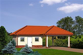 Projekt budynku gospodarczego Murator GC36 Wiata garażowa z pomieszczeniem gospodaczym