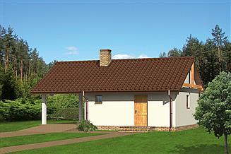 Projekt budynku gospodarczego Murator G16a Wiata garażowa z pomieszczeniem gospodarczym