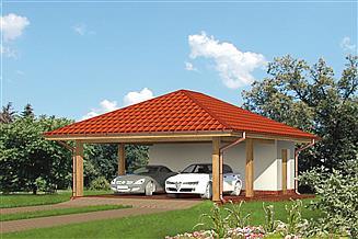 Projekt budynku gospodarczego Murator G29 Wiata garażowa z pomieszczeniem gospodarczym
