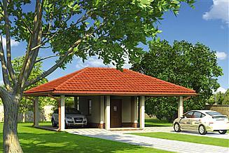 Projekt budynku gospodarczego Murator GC73 Wiata garażowa z pomieszczeniem gospodarczym