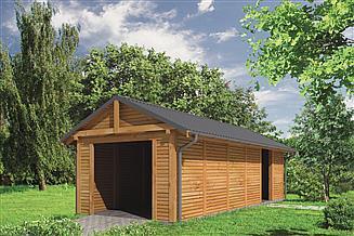 Projekt wiaty garażowej Murator G44bS Wiata garażowa z pomieszczeniem gospodarczym