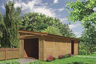 Projekt wiaty garażowej Murator G44cS Wiata garażowa z pomieszczeniem gospodarczym
