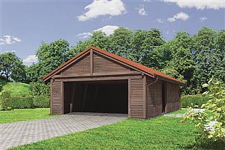 Projekt wiaty garażowej Murator G45S Wiata garażowa z pomieszczeniem gospodarczym