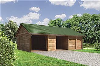 Projekt wiaty garażowej Murator G45aS Wiata garażowa z pomieszczeniem gospodarczym