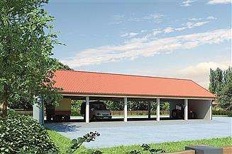 Projekt wiaty garażowej Murator GM09 Wiata garażowo-magazynowa