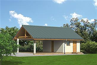Projekt budynku gospodarczego Murator G21a Wiata garażowa z pomieszczeniem gospodarczym