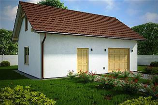 Projekt garażu G154 - Budynek garażowo - gospodarczy