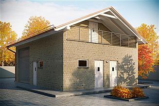 Projekt garażu G164 - Budynek garażowo - gospodarczy