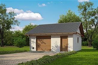 Projekt garażu G180 - Budynek garażowo - gospodarczy