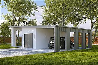 Projekt garażu G190 - Budynek garażowy z wiatą
