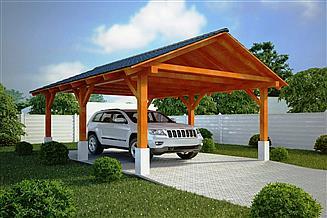 Projekt wiaty garażowej G152 - Wiata drewniana