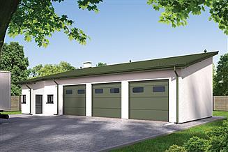 Projekt magazynu Murator GMC28a Budynek garażowo-magazynowy z częścią pomocniczą