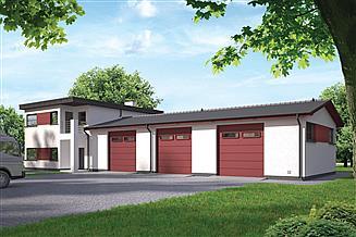 Projekt magazynu Murator GMC44 Budynek garażowo-magazynowy z cześcią mieszkalną