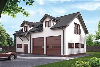 Projekt garażu Murator GMC18a Budynek garażowo-magazynowy z częścią mieszkalną (sezonową) i pom. pomocniczymi